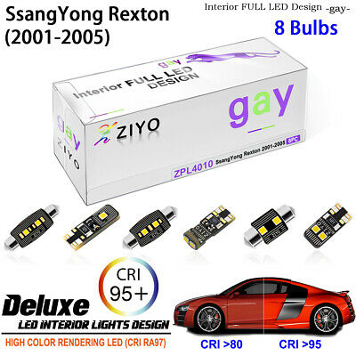 6Blubs Xenon White LED Interior Light Kit Package For SsangYong Rexton 2001-2005
