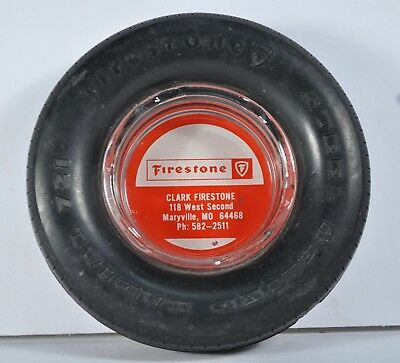 Vintage Firestone Clark Marysville MO Advertising Ashtray Wheel Radial Tire