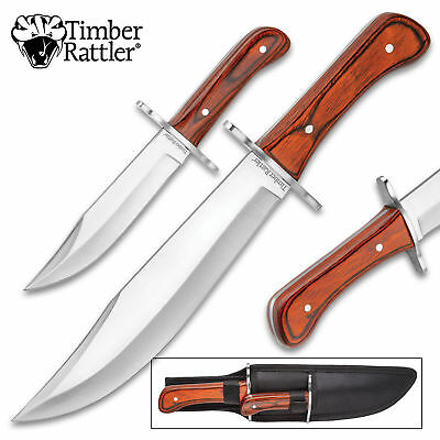2pc Wood Full Tang Fixed Blade Hunting Survival Knife Bowie Set w/ Sheath
