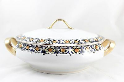 Vintage Covered Vegetable Serving Bowl Bavaria China Art Deco Floral Gold Blue