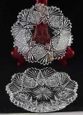 Pair Of Matching ABP American Brilliant Period Cut Glass Small Plates - Nice