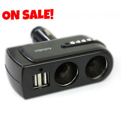 Dual Car USB Cigarette Lighter Charger LCD Splitter Double Power Socket Adapter