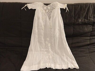 Sweet Embroidered Antique Christening Baptismal Infant Gown