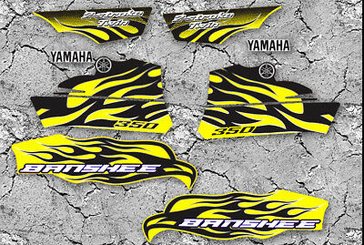 2010 Yamaha Banshee Yellow/Black/White Decals Stickers Labels Graphics 8pc kit