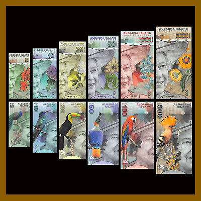 Aldabra Islands 5 - 100 Dollars (6 Pcs Set), 2018 Bank of Fantasy QEII Polymer