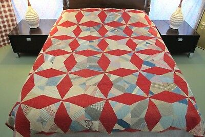 IMPRESSIVE Vintage Antique Hand Pieced & Quilted Feed Sack STARRY NIGHT Quilt