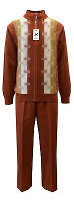 Men Silver Silk Two Piece Walking Leisure Suit Long Sleeves Knit 5397 Amber Rust