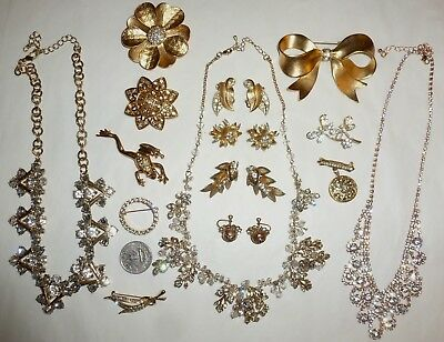 Vintage-Recent Lot 54pc Rhinestone Jewelry Brooches Earrings Necklaces  + Nice!