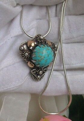 Antique Sterling Silver 925 & 18K Gold Brooch Pendant ~ Carico Lake Turquoise