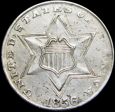 1856 Silver Three Cent Piece  ---- 3cp Type Coin   ----  #P171