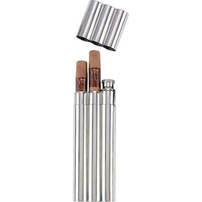 Maxam 2oz Stainless Steel Flask with 2 Cigar Tubes in Remailer Box