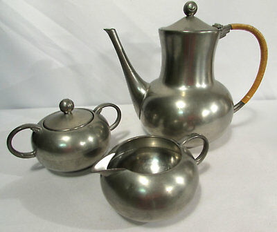 Vintage Royal Holland KMD Tiel Pewter Tea Serving Set Teapot Sugar Creamer