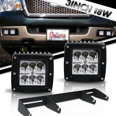 "Pair 3"" 18W CREE LED Light Pods Off-road W/Brackets KIT for Ford F150 SVT Raptor"