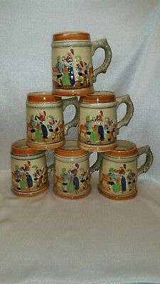 Set Of 6 Vintage 18Oz Tavern Ware  Stein Mugs From Japan
