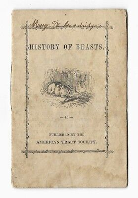 Antique Natural HISTORY OF BEASTS Victorian Illustrated CHILDREN'S CHAPBOOK