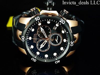 Invicta Men 52mm Reserve Venom Swiss Made Chronograph Rose Tone Black Dial Watch