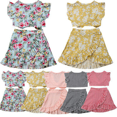 AU Toddler Baby Kids Girl Summer Tops Short Skirts 2PCS Outfits Clothes Sundress