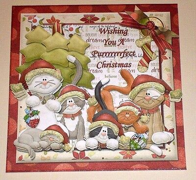 Handmade Greeting Card 3D Christmas With Cats Sentiment Inside