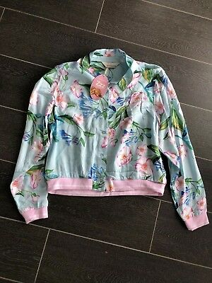 BNWT PETER ALEXANDER Aqua Floral Day Jacket Sleep Top Size XS RRP$79.95