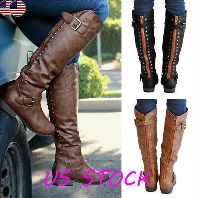 Womens  Zipper Buckle PU Leather Riding Knee High Boots Flat Shoes Winter Casual