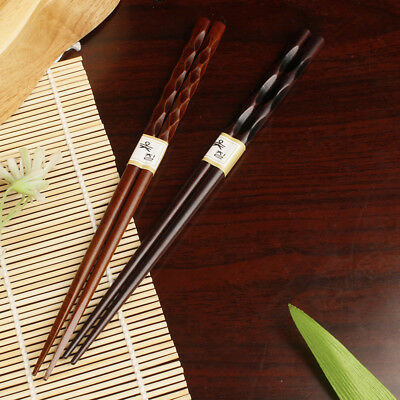 2 Pairs Japanese Chopsticks Wood Non-Slip-Sushi Chop Sticks Sets Chinese Gifts