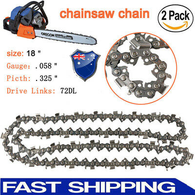 "2x 18 inch Chainsaw Saw Chain Blade Pitch .325 "" 0.058 Gauge 72DL Replacement AU"