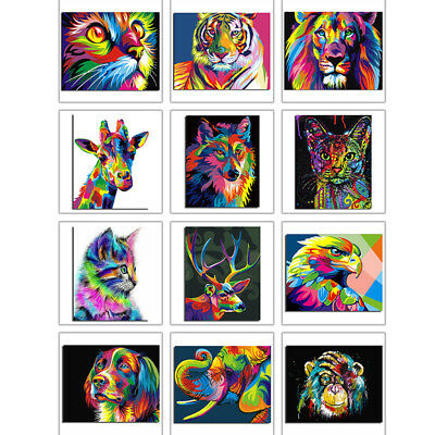 Animals Paint By Number Kit DIY Acrylic Oil Painting On Canvas Wall Art Decor DE