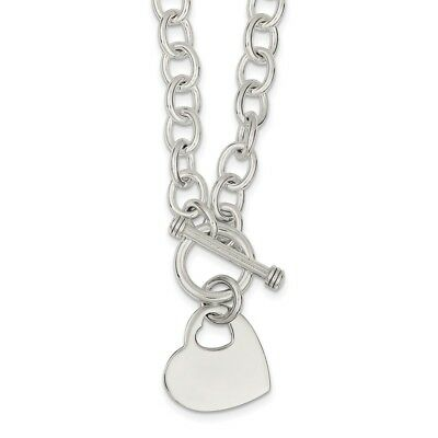 925 Sterling Silver Engraveable Heart Disc on Fancy Link Toggle Necklace 18 inch