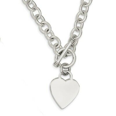 925 Sterling Silver Heart Fancy Link Toggle Necklace 18 inch