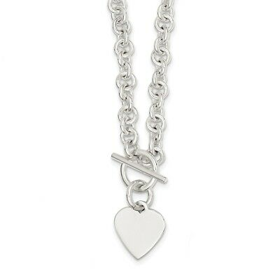 925 Sterling Silver Engraveable Heart Disc Fancy Link Toggle Necklace 18 inch