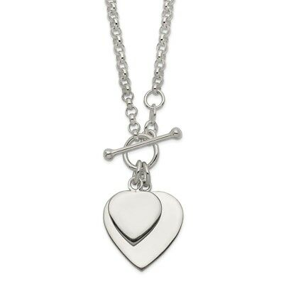 925 Sterling Silver Double Heart Toggle Necklace 18 inch