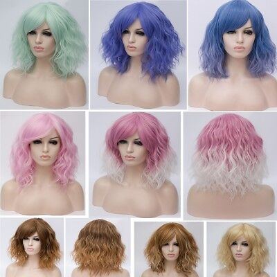 Lolita Heat Resistant Wig Anime Short Curly Wavy Synthetic Hair Cosplay UK