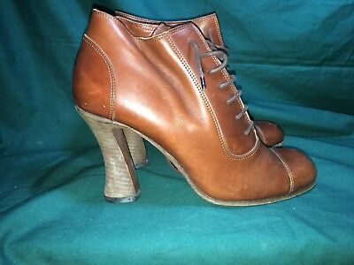 df4b4b78b0b Michel Perry Womens Ankle Boots Size 39 9 Brown Leather Kitten Heel Vintage