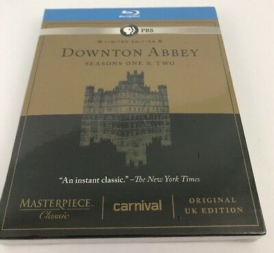 Masterpiece Classic: Downton Abbey Seasons One & Two (Blu-ray Disc, 5-Disc) NEW