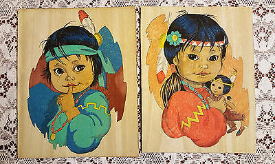 Vintage Native American Indian Children Hand Painted Cloth Pictures Wall Art