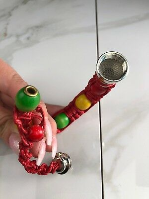 Portable Metal Bracelet Smoking Smoke Tobacco Pipe Jamaica Rasta Rope Knitting