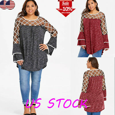 Plus Size Women Lace Mesh See Through Ruffled Bell Sleeve Top Tunic T Shirt Club