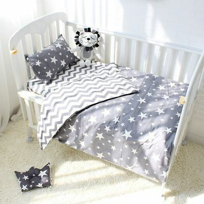 3Pcs Cotton Crib Bed Linen For Baby Bedding Set Pillowcase Bed Sheet Duvet Cover