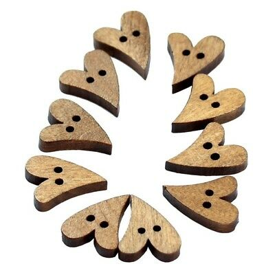 100pcs 2 Holes Lovely Brown Wood Wooden Sewing Heart Shape Button Craft 16* H8H5