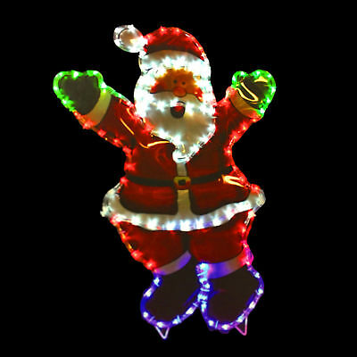 80cm Large Waving Santa LED Rope Lights Silhouette Outdoor Christmas Decoration