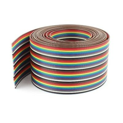 10ft 40 Way 40-Pin Rainbow Color IDC Flat Ribbon Cable 1.27mm Pitch O1W4 T2X4
