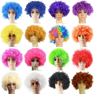 70s 80s Disco Circus Afro Clown Hair Wig Fancy Dress Up Costume Curly Wig UK