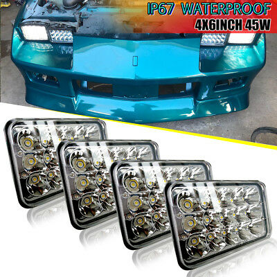 2 Pairs 4x6 LED Headlights for Kenworth T600 T800 W900L W900B Classic HK 120/132