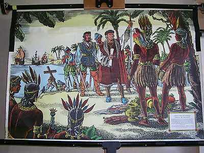 Schulwandbild Christoph Columbus Landing in America Indian 83x57 Vintage~1960