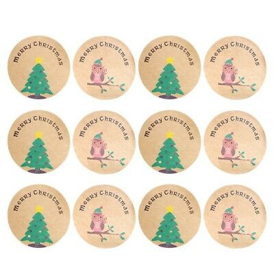 120 Christmas Stickers Owl Tree Merry Christmas Envelope Seal UK