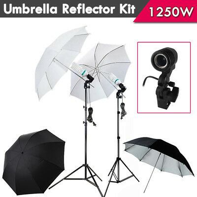 Photo White Black Screen Backdrop Background Light Stand Umbrella Lighting Kit