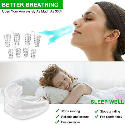 Quiet Sleep Aid Stop Snoring Mouthpiece Nose Clip Kit Set Anti Snore Guard Apnea