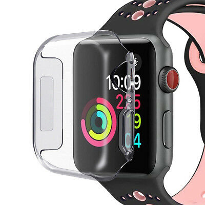 2pcs Full Cover TPU Clear Case Screen Protector 40/44mm For Apple Watch Series 4