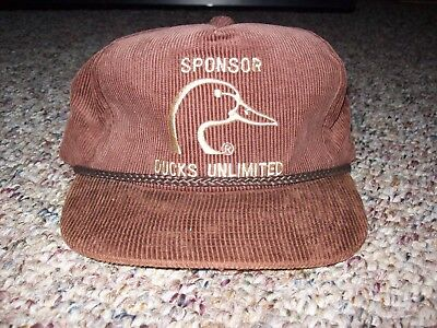 bcf055e45a2 VINTAGE DUCKS UNLIMITED Sponsor Brown Corduroy Hat -  10.00