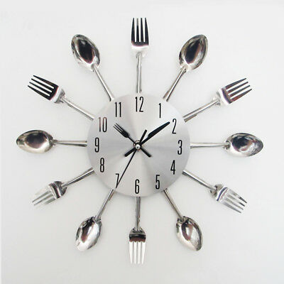 Modern Sliver Cutlery Kitchen Utensil Wall Clock Spoon Fork Clock Home Decor RO